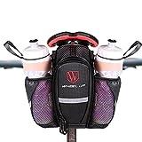 LJ deporte carretera bicicleta de montaña bicicleta sillín Bolsa con bolsillo para doble botella de agua, reflectante, cierre de velcro alforja bicicleta marco bolsa, negro