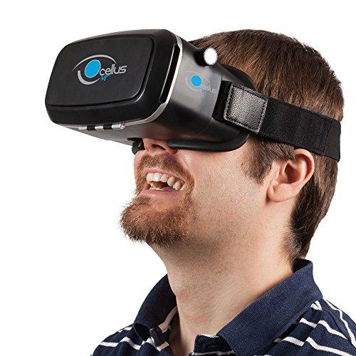 3D VR headset OCELLUSvr, kompatibel mit iPhone und Android von 4'' bis 6'', 3D VR brille, die eine hohe Bildqualität bieten und benutzerdefinierbar sind, virtual reality brille Design für Videos und Spiele.