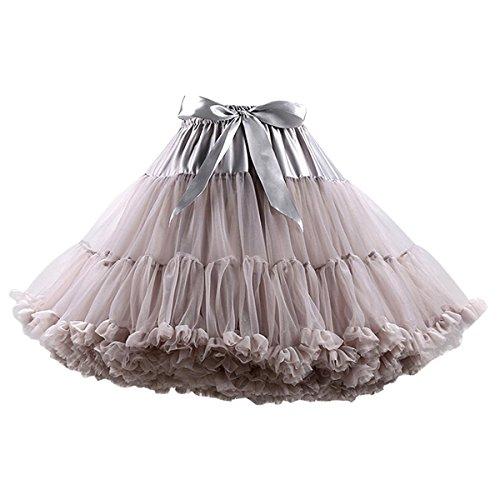 Caissen Damen Kurz Petticoat Tüll Ballett Tanzrock Tutu Ball Kleid Mehrfarbengroß Unterröcke (Kostüme Halloween Prinzessin Braut)