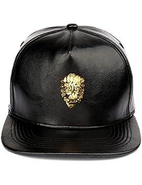 MCSAYS Hombre Gorra de béisbol del Snapback Lion Head cinturón de cuero de la PU Buckble brillante sombrero de...