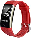 EFOSHM S2 Smart Armband Sport Fitness Tracker Herzfrequenz Sleep Qualität Monitor Call/SMS Reminder Wasserdicht IP67 Für Android iOS, rot