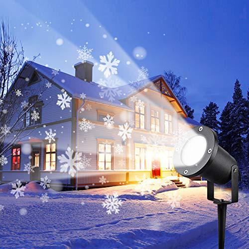 Wilktop Led Projektionslampe Weihnachtsbeleuchtung Led Projektor für Weihnachten/Halloween Projektionslampe Wasserdichte IP65 Weihnachtsbeleuchtung Außen LED Schneeflocke Weihnachten (Weiß Snowflake)
