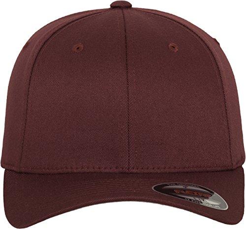 Flexfit Wooly Combed - 6 Panel Unisex Baseball Cap in 28 Farben, für Erwachsene und Kinder Maroon