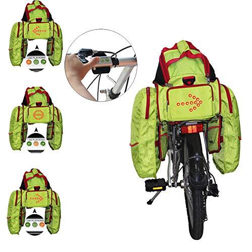 EODUDO-S Große kapazität wasserdichte Fahrrad rücksitz packtasche fit für Radfahren Reise mit drahtlose Steuerung trun licht Fahrrad packtasche, Weitere Stile (Farbe : Grün)