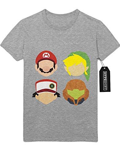 T-Shirt Pokemon Go Super Mario Link Zelda Metroid Samus Team Rocket Jessie James Mauzi Kanto 1996 Blue Version Pokeball Catch 'Em All Hype X Y Nintendo Blue Red Yellow Plus Hype Nerd Game C210006 Grau