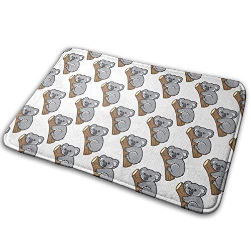 Tappetino da bagno in memory foam antiscivolo - 15,7 x 23,5 pollici, extra assorbente, morbido, resistente e asciugabile, tappetino shaggy con stampa 3D, albero da arrampicata in koala in tappeti per