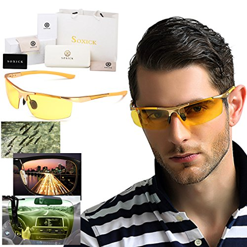 Soxick® HD Night Driving Glasses Anti Glare Polarized Sport Sunglasses for Night Rain Fog Snow Sunny Day Driving Safety