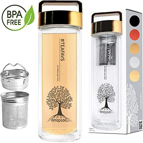 amapodo Teeflasche aus Glas mit Sieb 400ml - Tee Flasche Teekanne to go mit Deckel gold - Trinkflasche doppelwandig aus Borosilikatglas