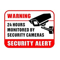 "Hybsk 3"" x 4"" Security Cameras Commercial & Home Security Signs, Surveillance Video Warning! Deterrence Decals Surveillance Camera Sticker Total 50 pack"