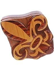 Beltiscool adulto madera hecha a mano Fleur De Lis forma secreto joyas caja de Puzzle–Fleur de Lis talla única natural