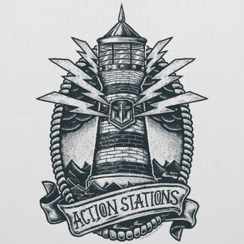 Spreadshirt World Of Warships Leuchtturm Action Stations Stoffbeutel Weiß