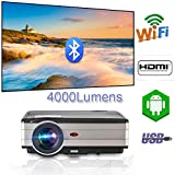 Android WiFi Proyector Airplay Bluetooth,Proyector de Video inalámbrico 4000 lúmenes 1080p HDMI HD...