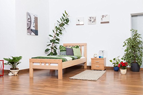 "Single bed ""Easy Sleep"" K8, solid, natural beech wood - Dimensions: 90 x 190 cm"