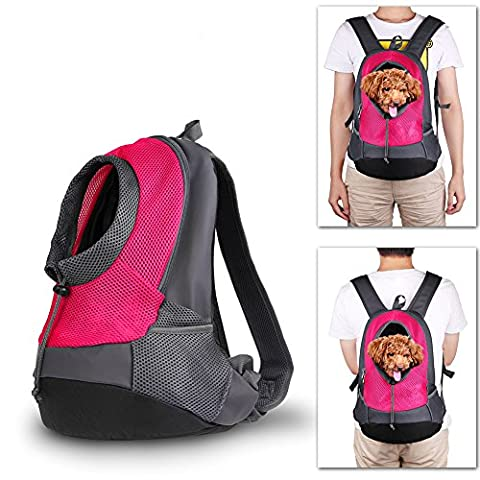 NHSUNRAY Pet porte-sac à dos pour petit chien chat Puppy(8lbs Max) On-the-Go Travel Pet avant arrière sac perméable à l'air Soft Mesh Pup Pack 42 * 38 * 20 cm rose rouge