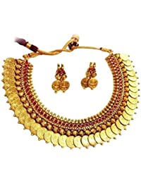 Temple Coin Traditional Nacklace Set For Women Party Wear Jewellery Set With Earrings For Women