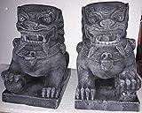 Koi-boerse 2 Diferentes Leones de Templo de Piedra fundida, Original de Bali León con Bola de Piedra Original en la Boca.