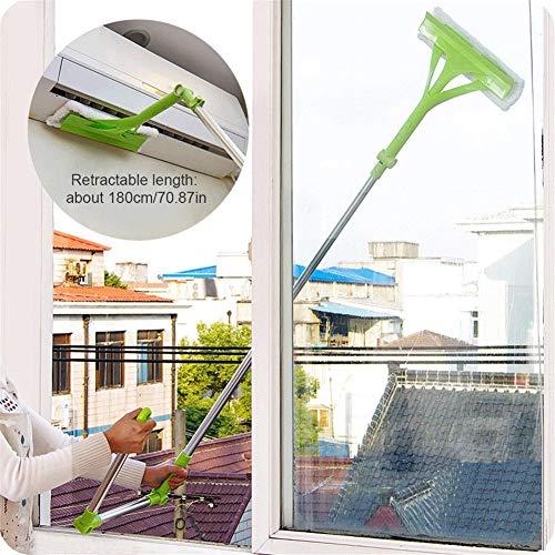 LUCYPAPASHOW Télescopique Nettoyeur, Raclette Vitre avec Lave-vitres Manche Extensible pour La Vitre Extérieure À Double Face
