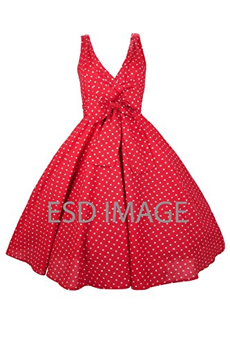 Neuf Femmes Kushi Retro Red Pois 50s Rockabilly Fête Déguisement - Taille 8 - 18 Beige