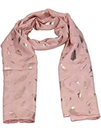 Carly Feather Rose Gold Foil Womens Viscose Scarf Shawl Wrap SWANKYSWANS