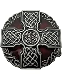 YONE Hebilla de cinturón Round Celtic Trinity Rope Knot Cross Belt Buckle Scottish Kilt Zinc Alloy