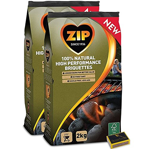 Tigerbox & ZIP 4KG Charcoal Briquettes. 100% NATURAL. Great for BBQ & Outdoor cooking. PLUS Tigerbox Safety Matches