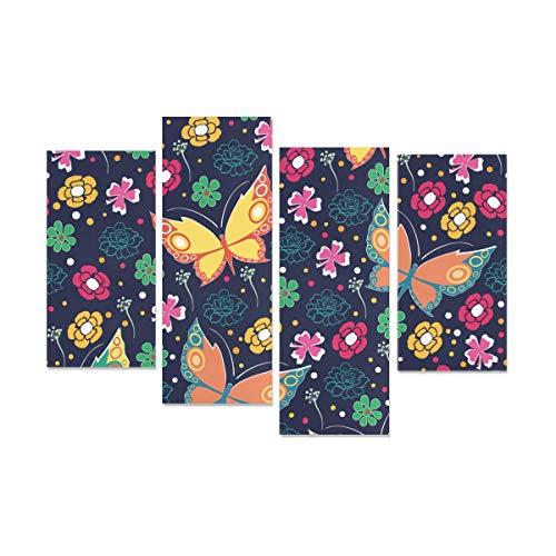 WDDHOME 4 Stücke Schlafzimmer Wandkunst Dekor Folk Schmetterling Farbige Blume Abstrakte Wandkunst Kein Rahmen Wohnzimmer Büro Hotel Wohnkultur Geschenk -