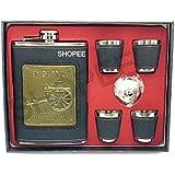 SHOPEE Branded England Black With 4 Shot Glass Wine Holder/Whiskey Holder/Liquor Holder Imported Hip Flask And Stainless Steel Hip Flask (230 Ml), Design Engraved - Alcoholic Beverage Holder
