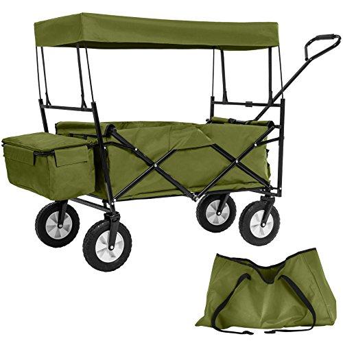 TecTake Chariot pliable avec toit amovible charrette de transport à tirer main vert