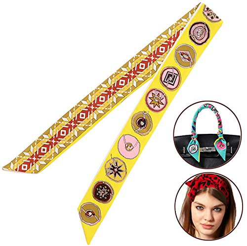 Bigood Echarpe Bandage Imitation Soie Décor Sac à Main Multifonction Ruban Mode Rose Rouge