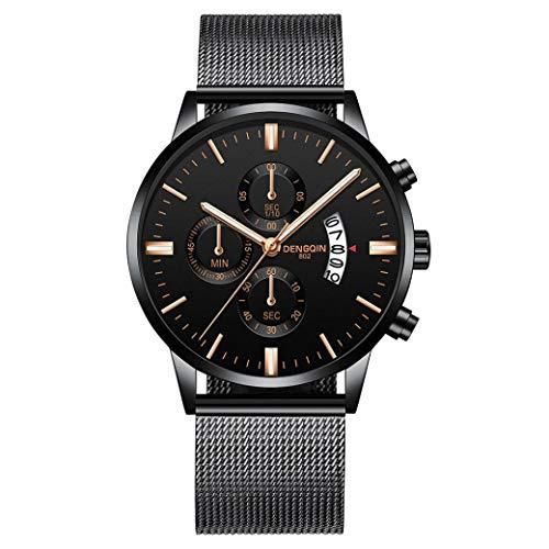 IK Herren-/Damen-Uhr Ø 40mm mit Milanaise-Armband Chenang Herren-/Damen-Armbanduhr mit Kalender Datumanzeige Multi-funktion Watch 807 Mesh mit einzelnen Kalender