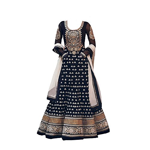 S R Fashion Girl\'s Georgette Embroidered Semi-stitched Anarkali Suit (SRF_Dress_DBKD_512_Black_Free Size)