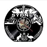 Australien Wanduhr Australien Stadtbild Emblem Wandkunst Sydney Skyline Schallplatte Wanduhr Sydney Opera House Vintage Clock