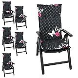 6er Set Gartenstuhlauflage Stuhlauflage Polsterauflage Hochlehner 116x46cm - 6cm dick, schwarz mit Schmetterlingen Sitzauflage Sitzpolsterauflage Sitzkissenpolster