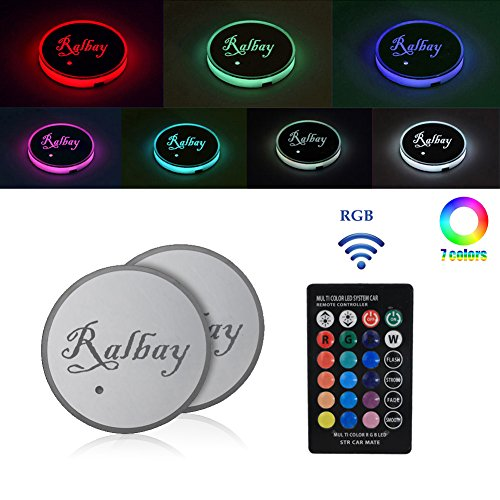 Preisvergleich Produktbild Ralbay Led Car Cup Holder Mat Pad Color Changing 3 Modes Car Interior Decoration Atmosphere Lights USB Rechargeable Waterproof Drink Coaster with Remote Control (2PCS)
