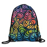 fengxutongxue Abstract In Rainbow Colors Drawstring Backpack Travel Bag Gym Outdoor Sports Portable Drawstring Beam Port Backpack for Girl Boys Woman Female