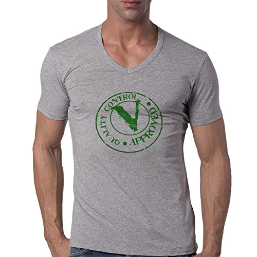 Quality Control Approved Green Seal Herren V-Neck T-Shirt Grau