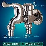 Hlluya Wasserhahn für Waschbecken Küche Die Dual Head voll Kupfer Scheibe T-Stück Wasserhahn Erkältung Waschmaschine tippen Wasseranschluß tippen B