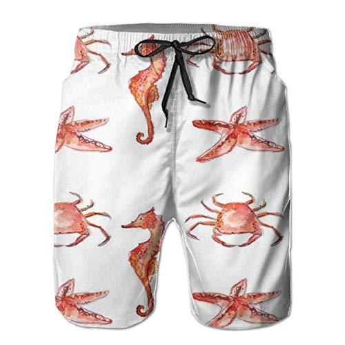 MIOMIOK Mens Beach Shorts Swim Trunks,Crab Seahorse Starfish Hand Drawn Underwater Sea Creatures Ocean Image Salmon Dark Coral_2,Summer Cool Quick Dry Board Shorts Bathing SuitXL