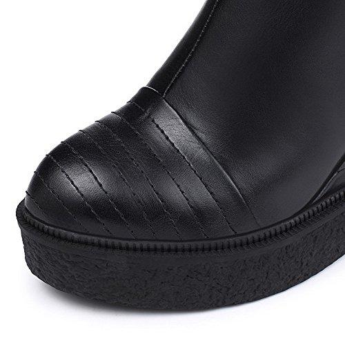 AgooLar Damen Reißverschluss Niedrig-Spitze Rund Schließen Zehe Hoher Absatz Stiefel Schwarz