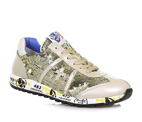 PREMIATA PREMIATA Goldener Schuh mit Schnürsenkeln, Aus Leder und Pailletten, auf der Zunge ein Logo, Mädchen, Damen-30