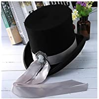 MMD-women's hat Moda Otoño Invierno del Sombrero de Copa Cinta con la Diosa de Las Lanas de Las Mujeres y Accesorios Ropa de Hombre clásico de Suave (Color : Black, Size : 61cm)