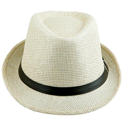 Shanxing Fedora Hut Herren Trilbyhut Panamahut Sonnenhut Hüte Jazz Kappe, 024-Licht Khaki, one size