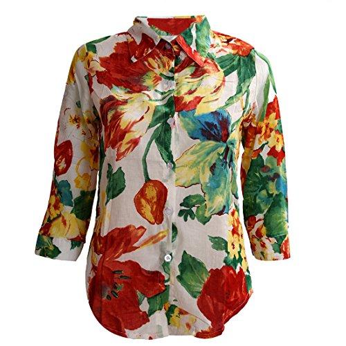 TOOGOO (R) Retro Blusa Colorida Floral Flor Estampado Gire hacia abajo