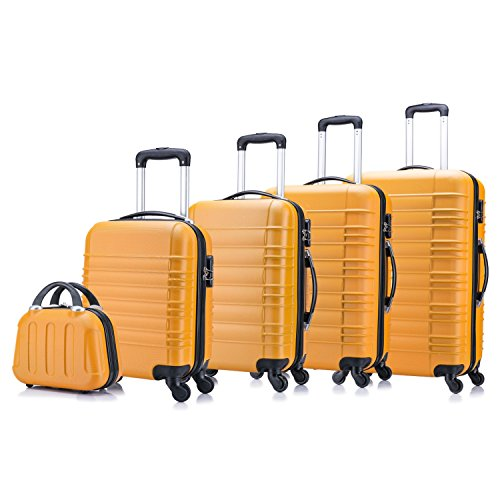 5 teiliges Koffer Set Hartschalenkoffer von Jalano Reisekofferset ineinander stapelbar Gepäck Set Koffer Trolley Hartschale in 5 Farben (orange)