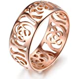 Fashion Jewellery Hot Sale Camellias Shape Hollow Rose Gold Plated Stainless Steel Women's Ring(With Gift Box,Best Gift!)