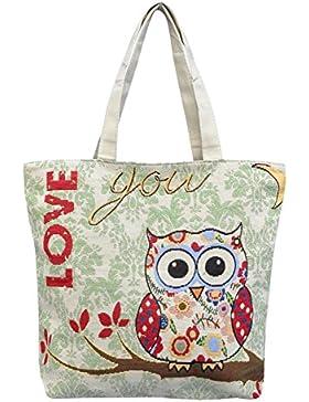 Eule Eulentasche Shopper Strandtasche mit 1 Fach und Reißverschluss*** MIT SÜSSEM EULENMOTIV***LOVE YOU*** Umhängetasche...