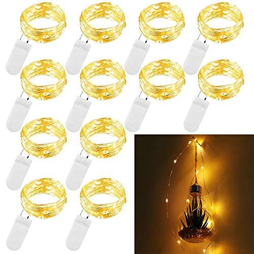 12er Yellow Starry String Lichterketten Firefly-Lichter mit 10 Micro LED Perlen auf 3.3feet / 1m Silber Kupferdraht Batteriebetriebene für Hochzeit Crafts Tisch Empfang Gläser Vasen Weihnachten Famil