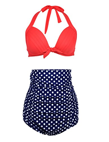 NONWE Women's Retro Bowknot High Wasit Two Piece Bikini Swimsuits