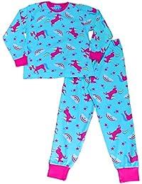 ThePyjamaFactory Cute Girl's Long Pyjamas All Over Unicorn Rainbow Long PJS 5 To 11 Years