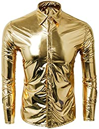Cusfull Men's Metallic Silver Shirt Nightclub Styles Long Sleeves Button Down Dress Shirts Shiny Slim Fit Disco Dance Tops Costume Party Clubwear Halloween/Cosplay Costume